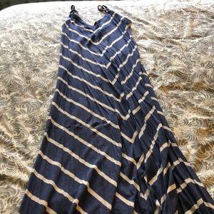 Matty M Blue and White Chevron Maxi Dress